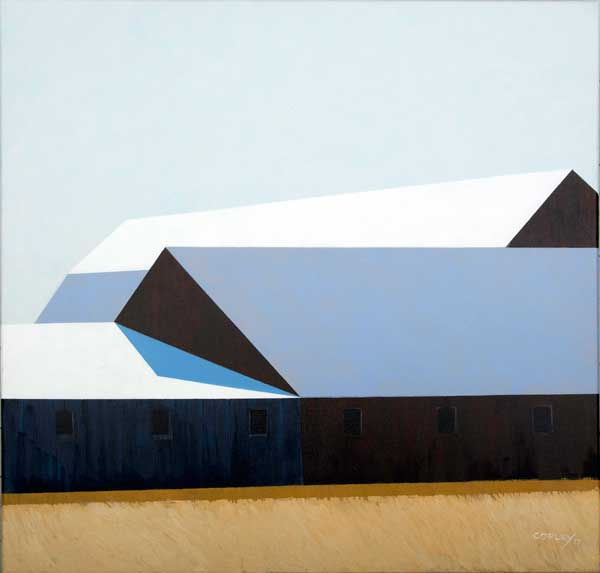 a long barn with a white roof  heavily shadowed with 6 windows going across the canvas