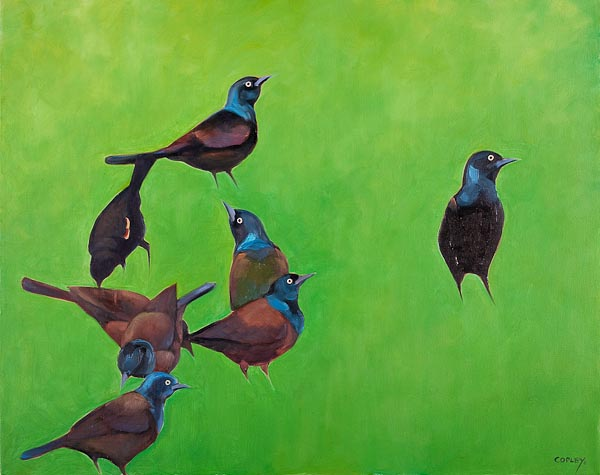 painting of several blackbirds on green background