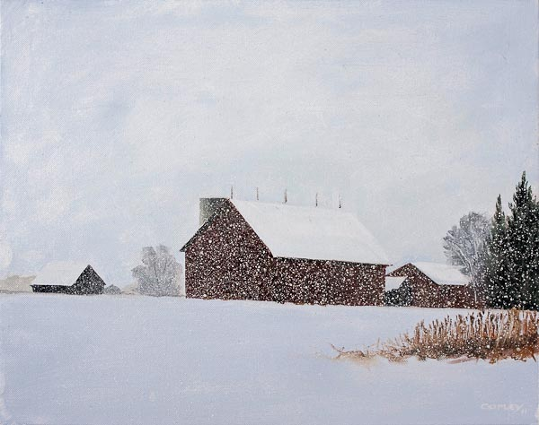 painting of a farm in winter