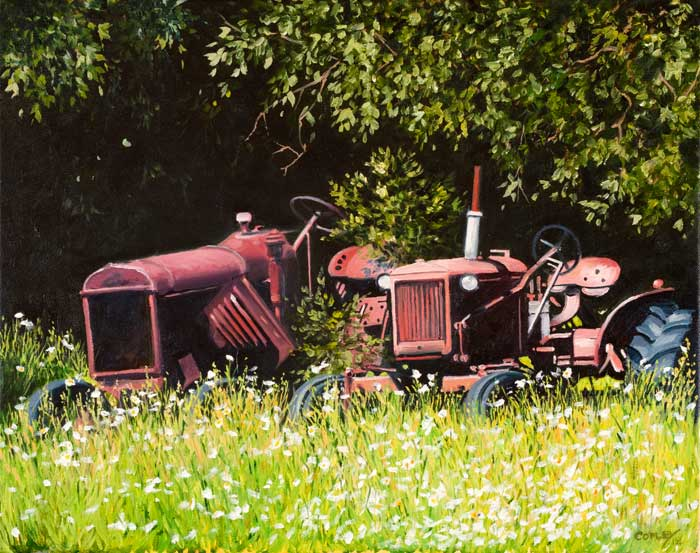 painting of a couple of old tractors on the edge of a flower filled meadow