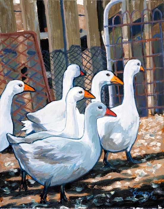 paintiing of 6 geese walking through a gate