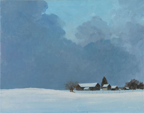painting of a snow covered farm with threatening clouds