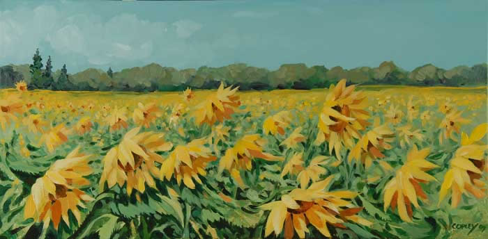 painting of a sunflower field
