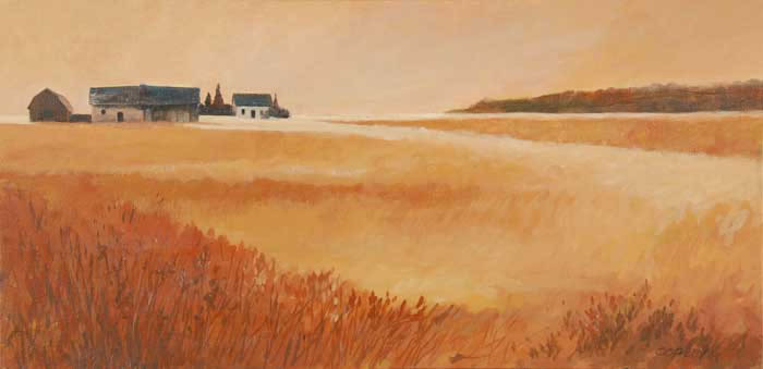 painting of a farm field in the fall