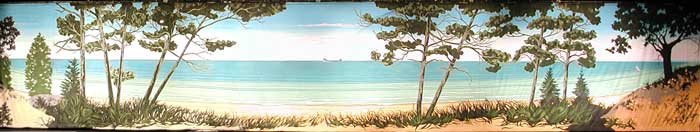 backdrop painting of a lakeshore