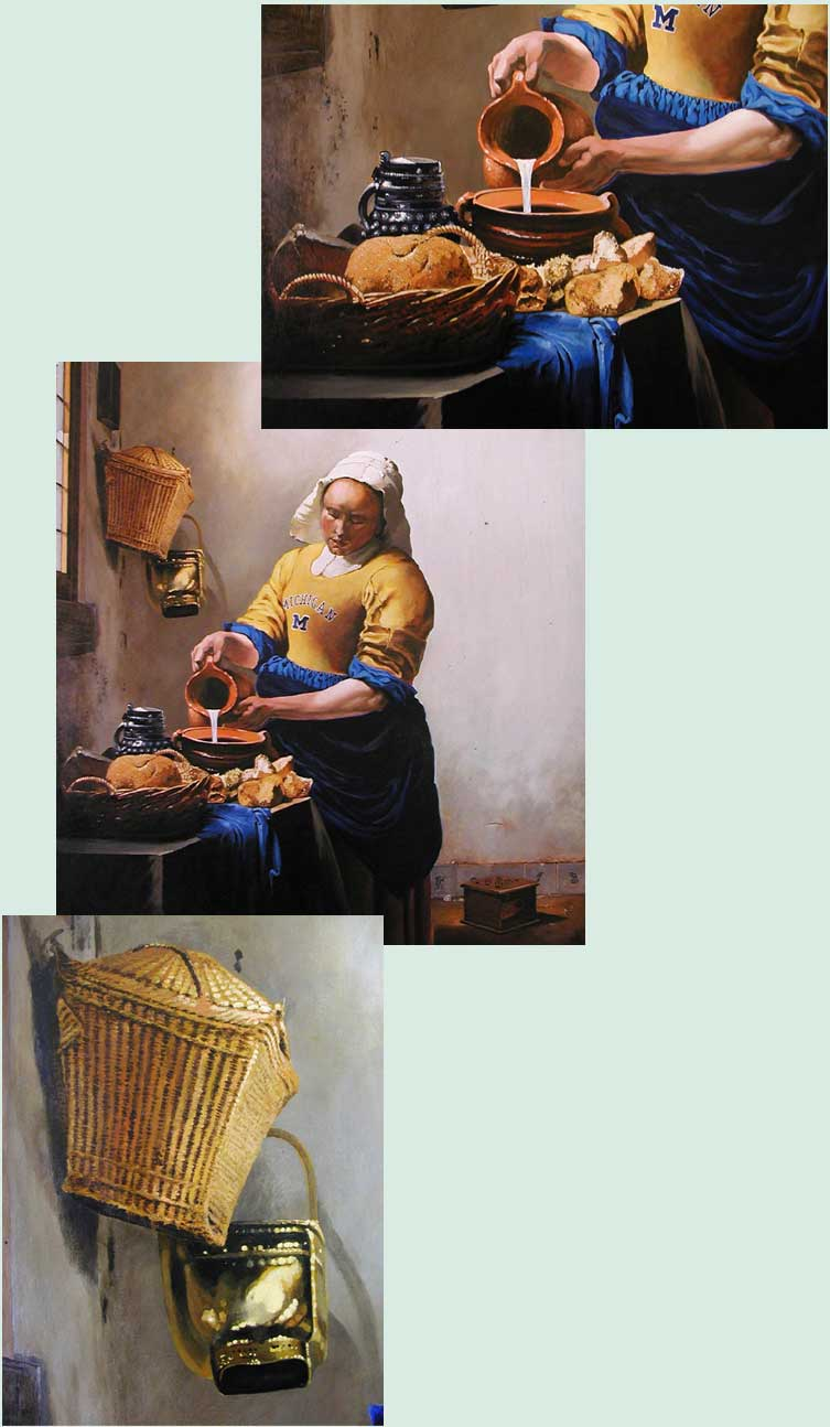 painting of a milkmaid wearing a u of m football juersey and sme closeups