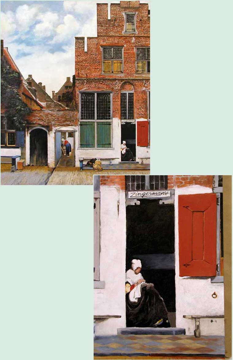 painting of buildings and one has the name zingermans painted on it
