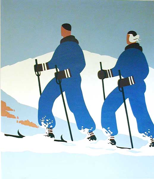 mural featuring cross country skiers