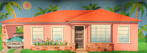 backdrop painting of a 1950s house