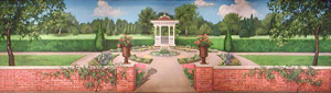 backdrop painting of a victorian garden