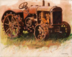 painting of a rusty tractor