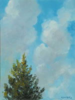 a painting of a blue sky with clouds with one tree top showing