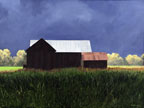 a paninting of a barn set against a dark stormy sky with a field of green in the foreground