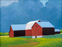 painting of a red barn in a field of green grass against a blue storm clouded sky