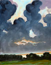 painting of mostly sky with storm clouds breaking up