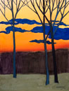 Painting of leafless trees at sunset with blue clouds in the sky