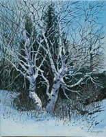 a painting of birch trees in winter