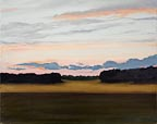 painting of a sunset over a field