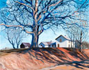painting of a farm with a leafless tree in the foreground casting shadows on the hillside