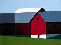 painting of a red barn with a steel blue and white roof with green grass in the foreground and a clear blue sky behind.