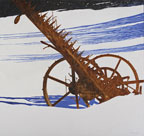 painting of a red orange rusty mower on wheels in the snow