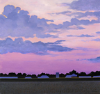 painting of a farm on the horizen against the pink and blue sky of sunset