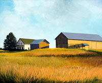 painting of a farmhouse and barn lit by a golden light on a hillside of yellow grass with a white cloud filled blue sky