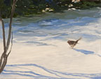 painting of a bird on a snow covered ground