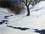 painting of bushes just starting to bud against a snowy foreground with a thawing creek running through