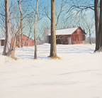 painting of a house and barn in the winter