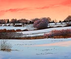 painting of a sunset over a farm in winter