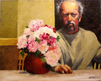 a self portrait; a man looking grumpy sitting at a table next to a vase of peonies