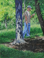a painting of a man looking at a tree leaf