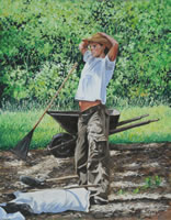 a painting of a man stretching next to a wheel barrow