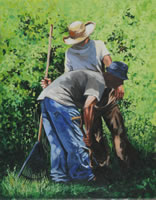 a painting of two men picking up gardening tools