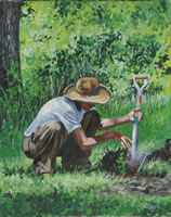 a painting of a man planting a tree seedling