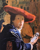 painting of a man wearing a red hat but he's holding a cell phone