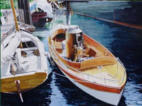 painting of wooden boats in a harbor