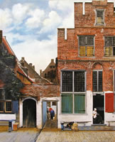 painting of old buildings with the name zingermans on one